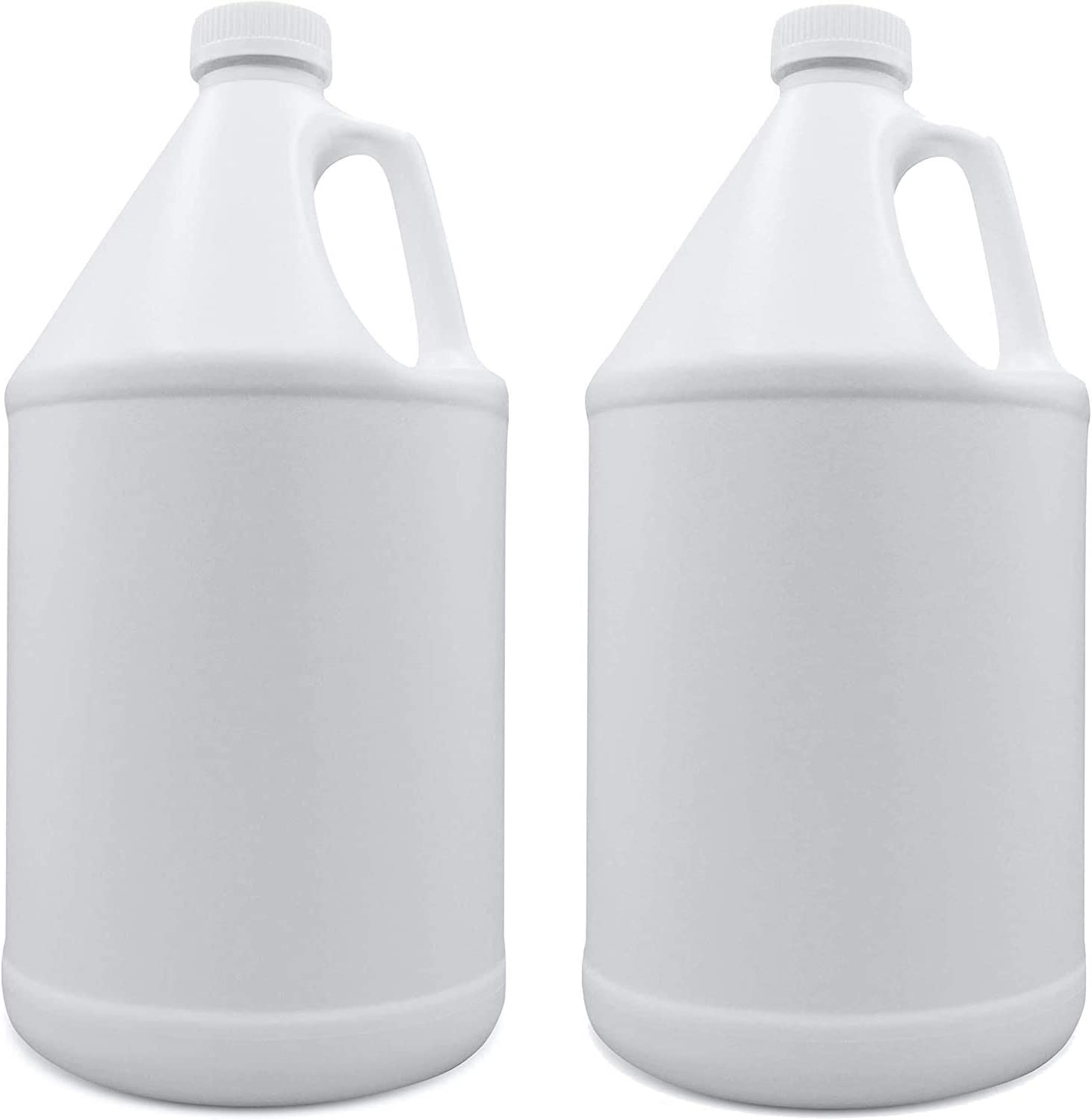 HAVENLAB Plastic Jug 2 Pack - Gallon Storage Containers with Cap and Reusable Leakproof Plug for Residential, Commercial, Industrial Grade Liquids - Durable - Mouth Thread Fits Most Pumps