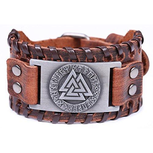 Warrior Belt Buckle - VASSAGO Vintage Amulet Nordic Runes Odin's Symbol of Warriors Valknut Charm Brown Belt Buckle Bracelet (Brown Leather, Antique Silver)