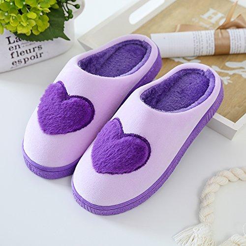 Fankou paio di pantofole di cotone uomini pacchetto con l'inverno soggiorno al coperto del sonno base scarpe antiscivolo spessore caldo calzatura ,37/38, marrone