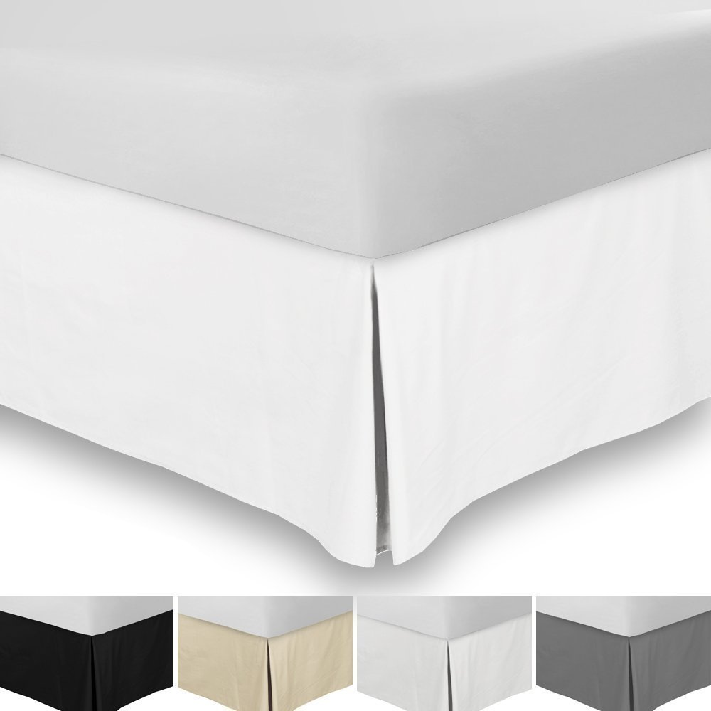 Mega Sale Offer 600 Thread Count Durable Egyptian Cotton Full Size 1-Pieces Split Corner Tailored Bed Skirt 18 inch Drop Length, White Solid