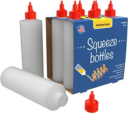6-pack Plastic Squeeze Condiment Bottles 16-Ounce With Red T