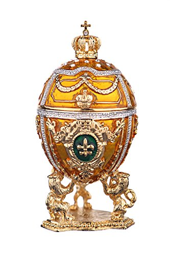 Russian Faberge Style Egg / Trinket Jewel Box with Lions & Russian Emperor's Crown yellow - Egg Box Jewel