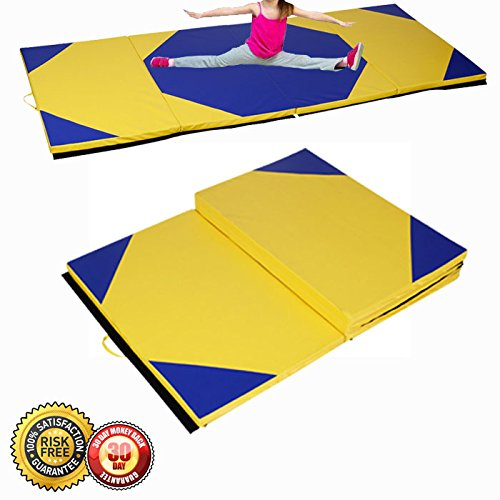 New 4'x10'x2″Gymnastics Mat Thick Folding Panel Gym Fitness Exercise Yellow/Blue