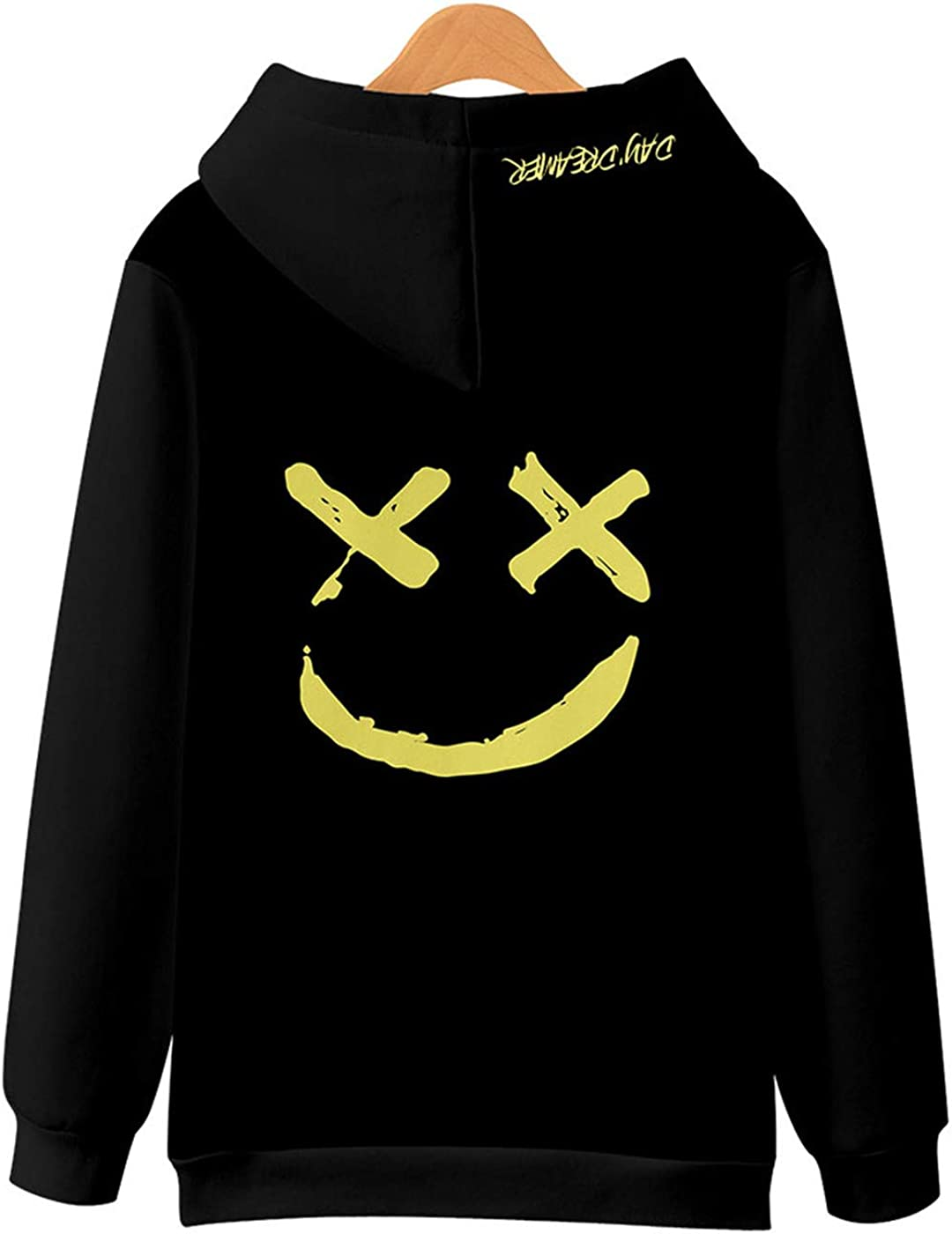 Clearance On Sale Litetao Men Pullover Hoodie Sweater Smile BE Happy Print Patchwork Hip Hop Christmas Costume