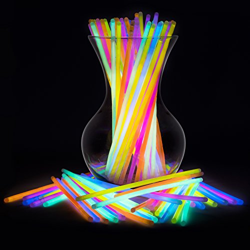 "Glow Sticks Bulk Neon Party Supplies - 100 8"" Bulk Glow Sticks Party Pack w/ Connectors to Make Glow Sticks Necklaces and Party Glow Sticks Fun"
