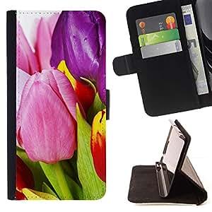 Momo Phone Case / Flip Funda de Cuero Case Cover - flores tulipanes varicoloured - Samsung Galaxy S6 Edge Plus / S6 Edge+ G928