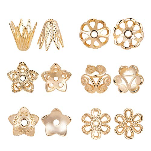 BENECREAT 60PCS Mixed Size 18K Gold Plated Flower Bead Caps Tibetan Style Flower Bead End Caps Spacers for Jewelry Making