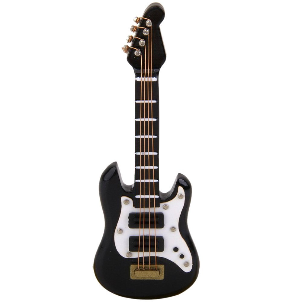 Gitarre - SODIAL(R)1/12 Puppenhaus Miniatur Musikinstrument Schwarze E Gitarre 070865