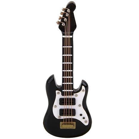 SODIAL 1/12 Instrumento Musical Guitarra Electrica en Miniatura para Casa de Muneca Negro