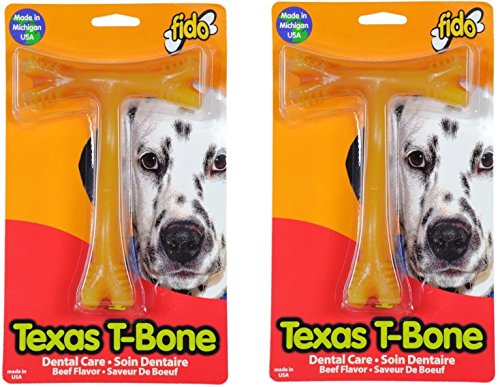 (2 Pack) Fido Texas T-Bone Dental Dog Bone, Beef Flavored, Large 6-1/2'