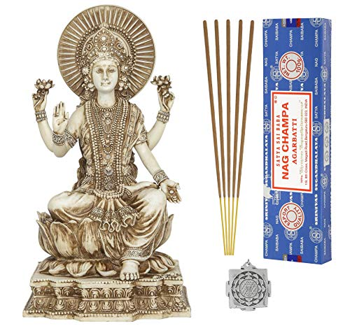 Lakshmi - Altar Supply Kit - 6.2 inch (H) Antique Ivory Lakshmi Statue Hindu Goddess of Wealth Fortune and Prosperity ~ 100 Gram Satya Sai Baba Nag Champa Incense Sticks - Ivory Statue