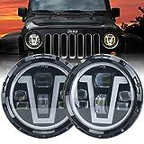 7 inch round headlight housings - OVOTOR Jeep Headlights LED 7 inch with Halo Ring Amber Turn Signal Lights V Type White DRL Hi Lo Beam for Jeep Wrangler JK TJ LJ CJ Black