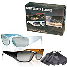"2 Player Split Screen Polarized Gaming Glasses - High Quality - Compatible with ""Dual Play"" By Lg, ""Full Screen Gaming"" (Passive Version) By Philips, Simulview By Sony and Dual Gaming By Grundig - Same Technique, but No 3d Glasses - With Pouch"