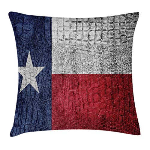 row Pillow Cushion Cover, Texas State Flag Painted on Crocodile Snake Skin Patriotic Emblem Image, Decorative Square Accent Pillow Case, 20 X 20 Inches, Ruby Dark Blue White ()
