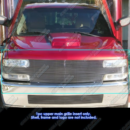 APS Fits 99-02 Chevy Silverado 1500 Full Open Face Main Upper Billet Grille ()