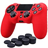 YoRHa Silicone Cover Skin Case for Sony PS4/slim/Pro controller x 1(red) With Pro thumb grips x 8