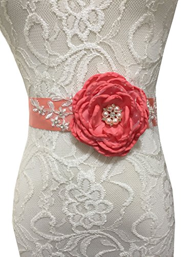 Lemandy Gorgeous Floral Handmade Flowers Sashes with Vintage Crystal Decoration in Middle for Wedding Dresses in 5 Colors (Coral)