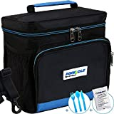 INSULATED LUNCH BAG For Work - Pinnacle Cooler Bag for Men, Women Lunch Container for Adults + BONUS GEL ICE PACK and MATCHING CUTLERY - Double Zipper, Adjustable strap – Black & Blue