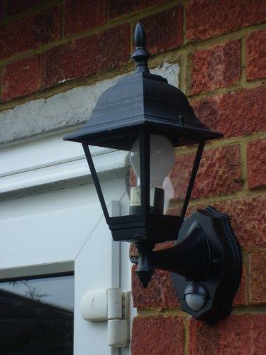-[ Smartwares ES94 4-Panel Wall Lantern with PIR Motion Detector, 100 W, Black  ]-