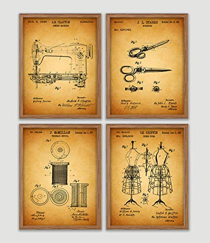 Sewing Patent Poster Set Sewing Room Art Print Craft Room Decor Sewing Machine Dressform Mannequin Seamstress Wall Decor Sewing Room Artworks Tailors Wall Art Home Decor Wall Hanging Gift For Sewer from Poster Soul
