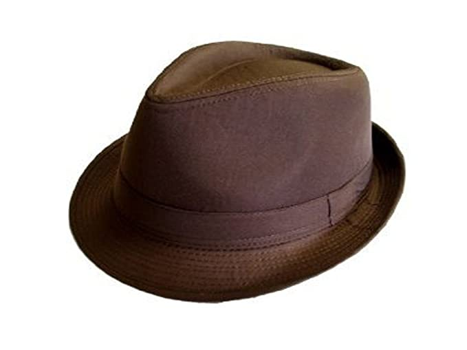 Classic Cotton Brown Fedora Gangster Hat at Amazon Men s Clothing ... 226fc11063f