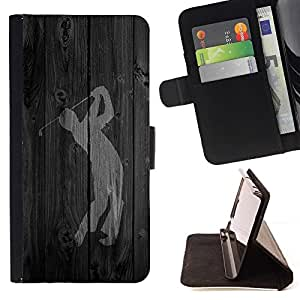 BETTY - FOR Apple Iphone 5 / 5S - Golf Swing Word - Style PU Leather Case Wallet Flip Stand Flap Closure Cover