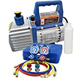 F2C 4CFM 1/3 HP Air Vacuum Pump HVAC Refrigeration KIT A/C Manifold Gauge Set Combo