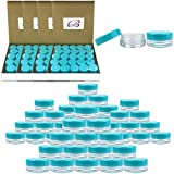 (Quantity: 500 Pieces) Beauticom 3G/3ML Round Clear Jars with TEAL Sky Blue Lids for Scrubs, Oils, Toner, Salves, Creams, Lotions, Makeup Samples, Lip Balms - BPA Free