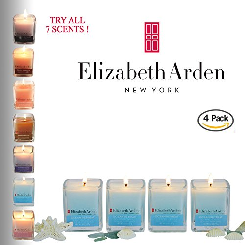 Sale! Elizabeth Arden Ocean Retreat Aromatherapy Votive Candle gift 4-pack of Scented Soy Candles | Beach Themed Parties | Nautical Décor | Baby Boy Shower Favors | Made in the USA
