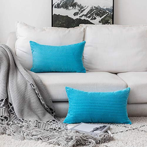 Home Brilliant Oblong Rectangle Throw Pillow Cover Cushion Cover for Bench Outdoor Furniture, 12x 20 (30x50 cm), Set of 2, Turquoise (Outdoor Covers Furniture Striped)