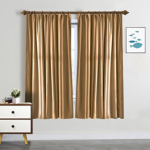 SeeSaw Home Blackout Solid Thermal Insulated Pinch Pleat Window Panel Door Curtains/Draperies for Patio,Restaurant,Hotel,84W By 84L Inch,1 Panel,Wheat (Patio Door 6-0)