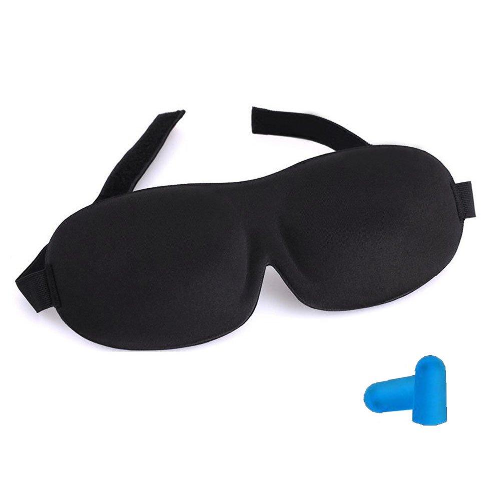 Capuleta Super Soft Adjustable Black 3D Sleep Eye Mask & Free Ear Plugs by Capuleta   B01F4RX1RW