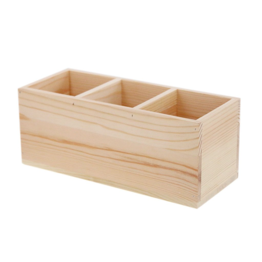Coideal Wood Pen Pencil/Remote Control Holder Container Stationery Case Office Desktop Organizer with Hollow Design for School Things, Living Goods, Office Supplies (3 Compartments)