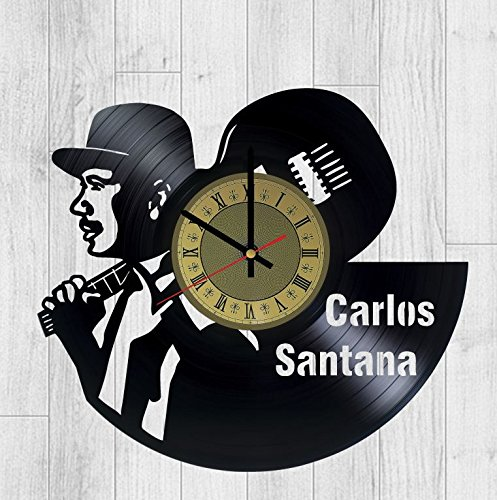 Carlos Santana vinyl wall clock - handmade artwork unique home bedroom living kids room nursery wall decor great gifts idea for birthday, wedding, anniversary - customize your clock
