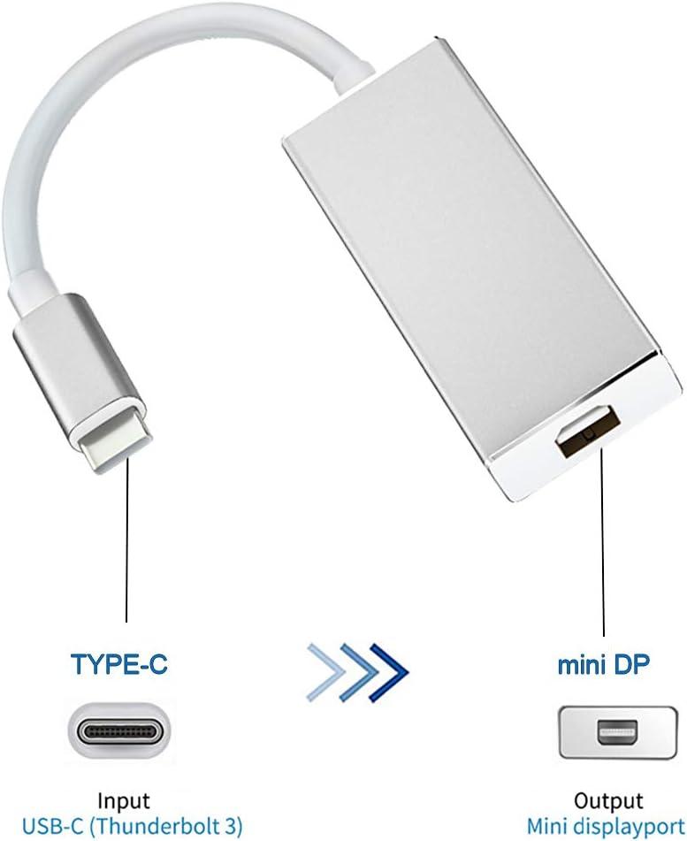 Type-C naar Mini DisplayPort DP USB Adapter, Type-C USB 3.1 naar Mini DP Adapter Kabel voor 4K HDTV Converter Mannelijk naar Vrouwelijk, DisplayPort Adapter Type C voor Macbook, Laptop, 15x2.3x1.2cm,  ZILVER