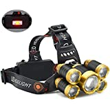 HG Headlamp, 12000 Lumen Brightest Headlamps with 4 Lighting Models, Best Rechargeable Headlamps for Running Camping Fishing Outdoor Work(Lighting Range up to 500M)