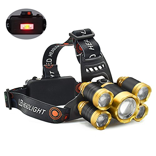 Headlamp,12000 Lumen 5 LED Work Headlight 4 Modes Rechargeable Waterproof Flashlight Lighting Range up to 500M, HeadLights for Running Camping Fishing Outdoor Work (Includes Two 4200mA Batteries)