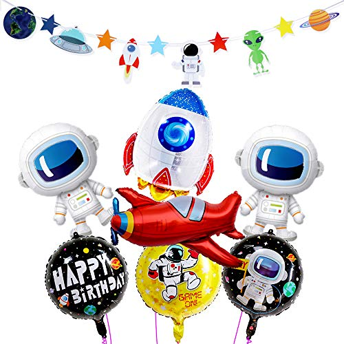 Space Party Supplies - Astronaut Rocket Outer Space Planet Galaxy Universe Solar System Theme Party Banner Aluminum Foil Balloons Party Decorations for Birthday Baby Shower Anniversary Day -