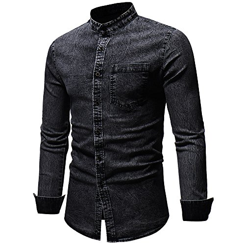Sale Winter Autumn PASATO Top Vintage shirt Men's Long Clearance Classic Blouse Black Solid Denim Distressed Sleeve T xqxRpT