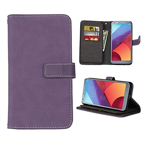 LG G6 Plus Case, SUMOON [Vintage Style] Luxury Fashion PU Leather Magnet Wallet Credit Card Holder Flip Case Cover with Built-in 9 Card Slots & Stand For LG G6 (Purple)