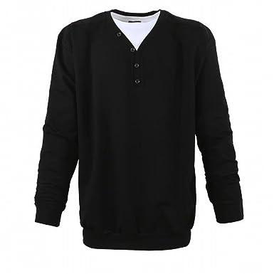 LAVECCHIA Herren Pullover Sweatshirt in Übergröße XXXL bis 8XL mit  angedeutetem V-Ausschnitt (3XL 9d3540aadf