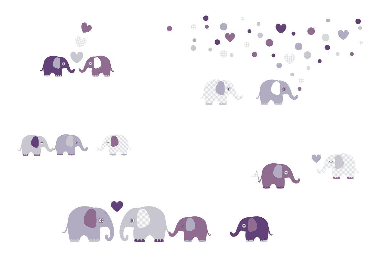 Lovely Label Wandsticker Selbstklebend Elefanten Aubergine Grau