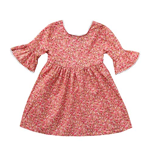 (GoodLock Baby Girls Fashion Dresses Toddler Flare Sleeve Floral Print Dress Lace Sundress Clothes Outfits (Pink, 4-5 Years))