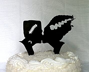Frankenstein And Bride Silhouette Wedding Cake Topper Halloween