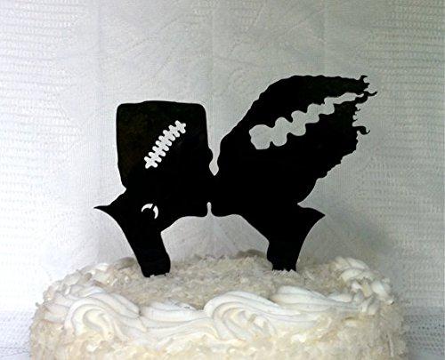 Frankenstein and Bride Silhouette Wedding Cake Topper Halloween Cake Topper Frankenstein Cake Topper Frankenstein Wedding Cake Topper]()