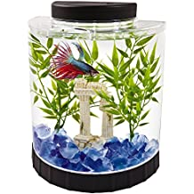 Tetra LED Half Moon Betta Aquarium, 4.6 x 9.1 x 9.9 Inches