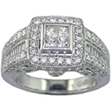 14K White Gold Diamond Engagement Ring (1.65 CT) In Size O