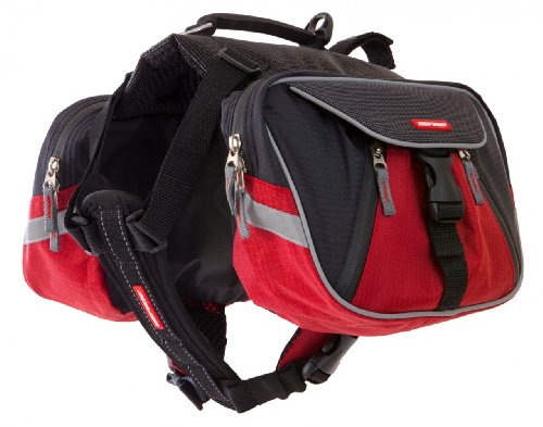 - EzyDog Summit Outdoor Dog Backpack  - Reflective and Incorporates a Chest Plate Harness - Easy Access Saddlebags with Superior Storage Capacity and Comfort - Leash Caddy for Safety (Red, Small)