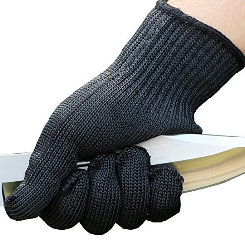 Stainless Steel Wire Anti-Cut Cut Resistant Gloves (Black) - 5