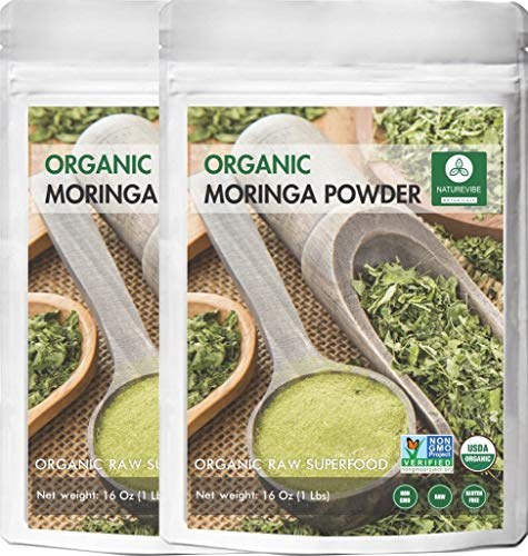 Organic Premium Moringa Powder by Naturevibe Botanicals (2 Lbs - 2 Packs of 1 lb each), Non GMO Verified and Gluten Free | Multi-Vitamin | Great in Drinks and Smoothies | Supports Weight Loss.